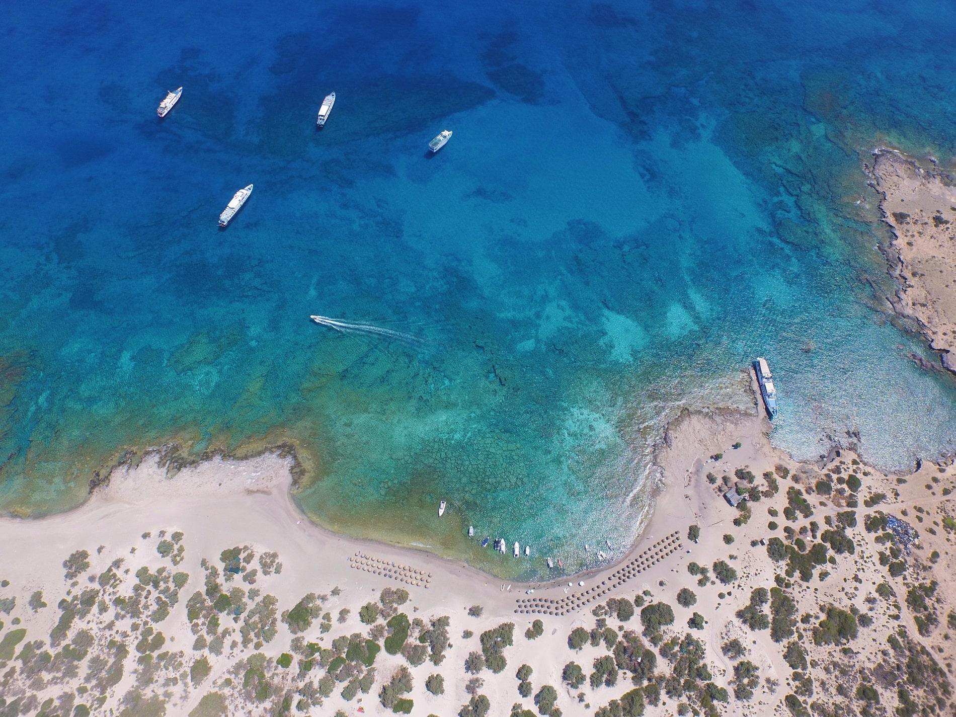 blue cruises crete chrissi drone view 10